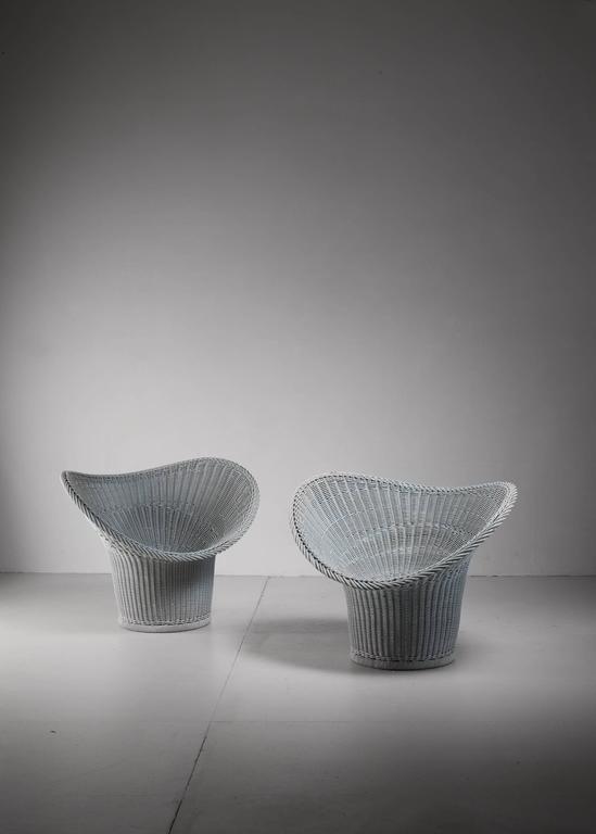 Pair of korbsessel chairs by egon eiermann germany 1958 for Korbsessel modern