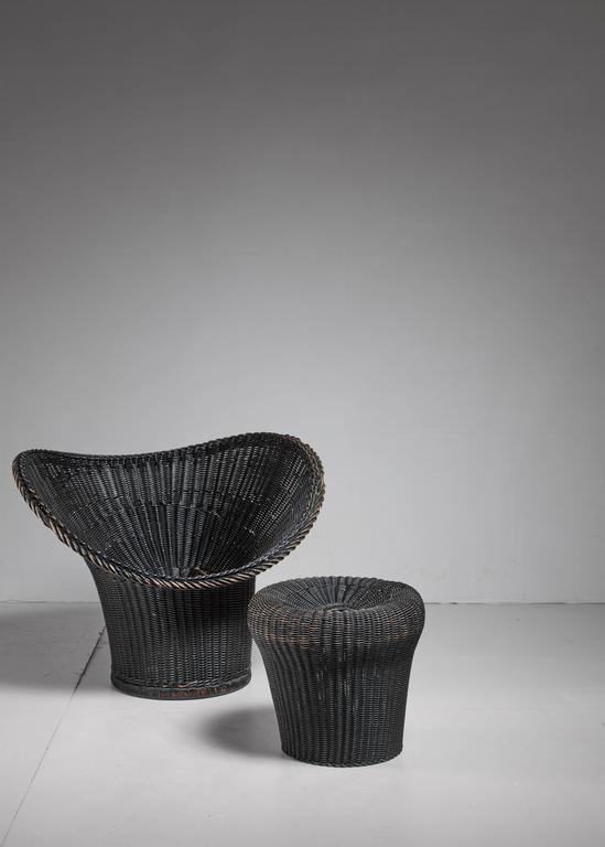 egon eiermann korbsessel chair and stool germany 1958 for sale at 1stdibs. Black Bedroom Furniture Sets. Home Design Ideas