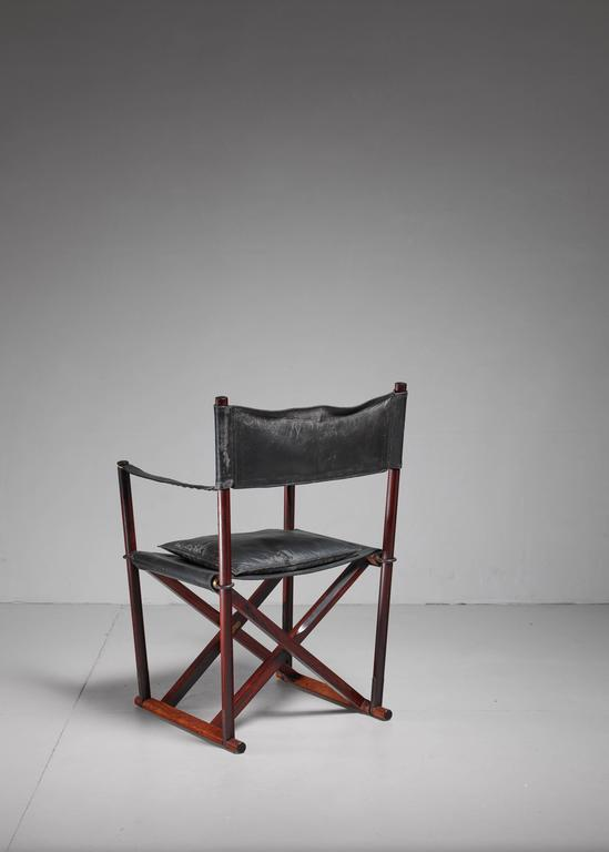 Mogens Koch MK-16 Safari Chair for Interna in Rosewood, Denmark, 1960s In Good Condition For Sale In Maastricht, NL