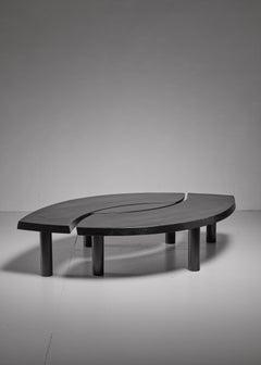Pierre Chapo T22 'L'oeil' Coffee Table in Black Pine, 1960s