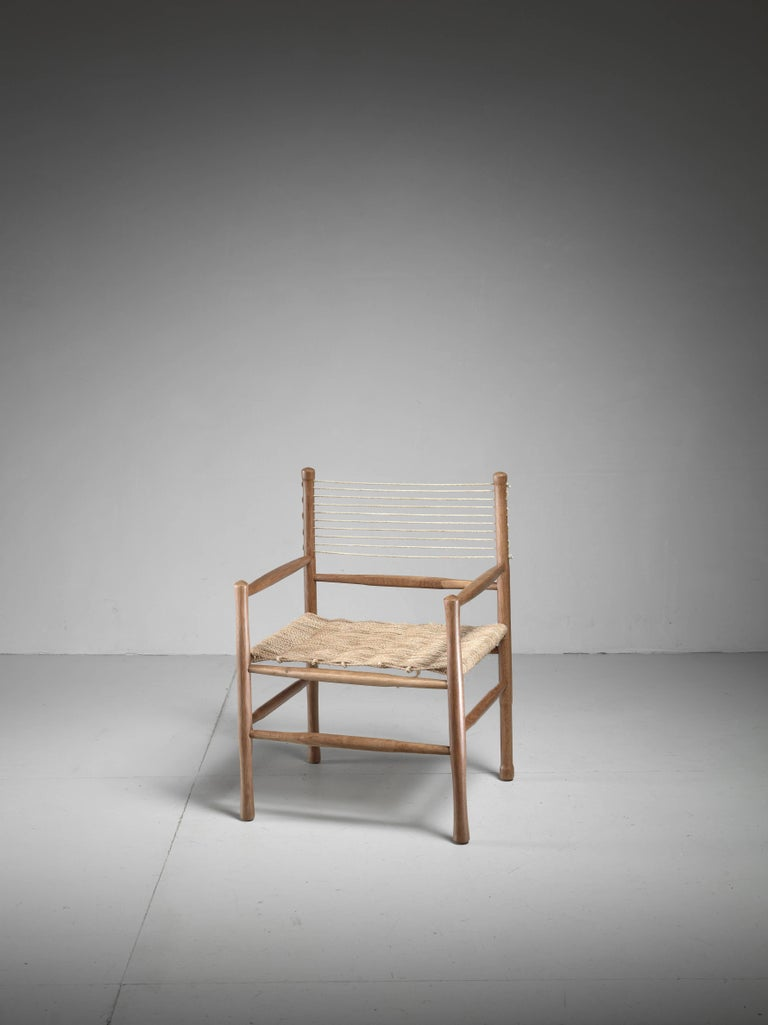 Oak and Rope Side Chair, Denmark, 1960s 3