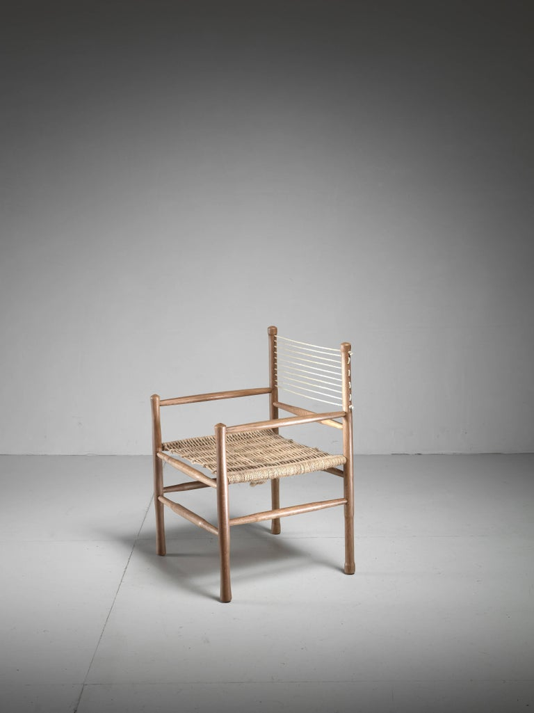 Oak and Rope Side Chair, Denmark, 1960s 2