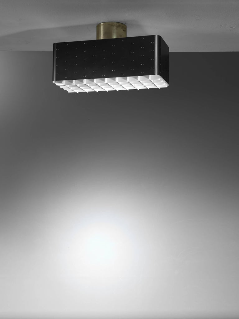 Paavo tynell rectangular 9068 ceiling lamp in black and white finland 1950s