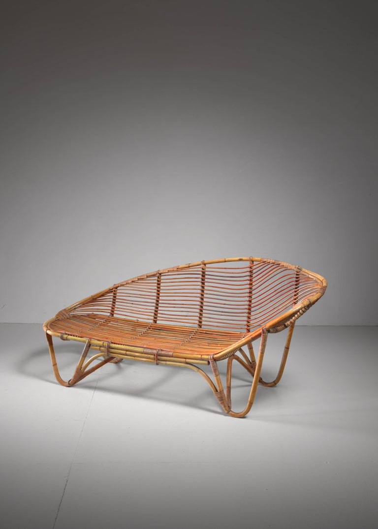Swedish bamboo and rattan chaise longue 1940s for sale at for Chaise longue for sale
