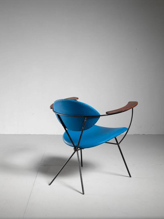 Blue Joseph Cicchelli Chair for Reilly Wolf, USA, 1950s 4