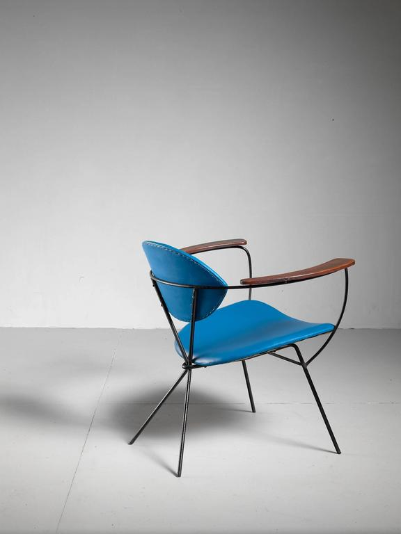 Blue Joseph Cicchelli Chair for Reilly Wolf, USA, 1950s 5