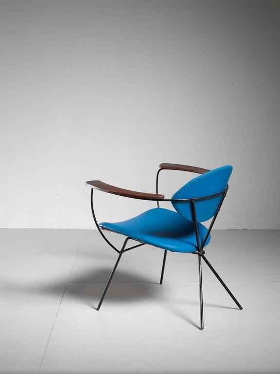 Blue Joseph Cicchelli Chair for Reilly Wolf, USA, 1950s 6