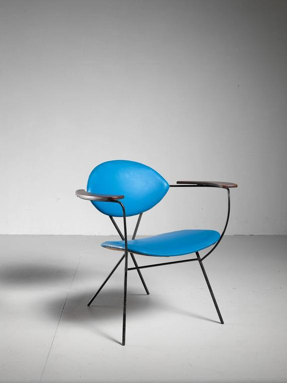 Blue Joseph Cicchelli Chair for Reilly Wolf, USA, 1950s 2
