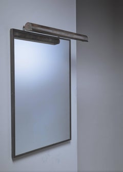 Brass mirror with horizontal mirror lamp attached, Italy, 1950s