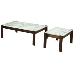 Pair of Percival Lafer Side Tables With Marble Top