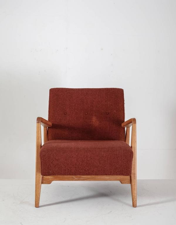 Mid-Century Modern Jens Risom Walnut Lounge Chair with Red-Brown Wool Cushions, USA, 1950s For Sale