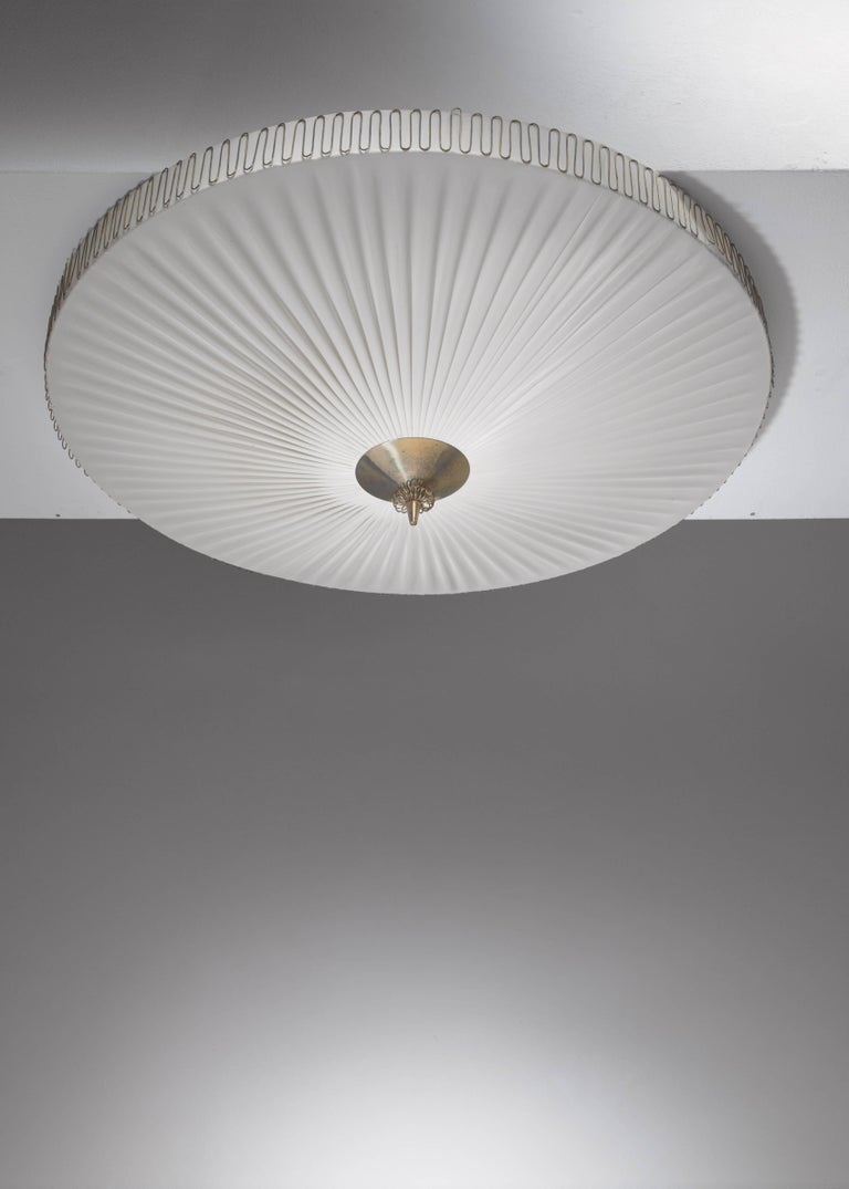 Scandinavian Modern Large Round Pleated Flush Mount with Brass Centrepart by Idman, Finland, 1950s For Sale
