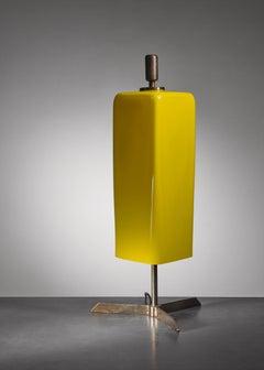 Yellow glass Vistosi table lamp, Italy, 1950s