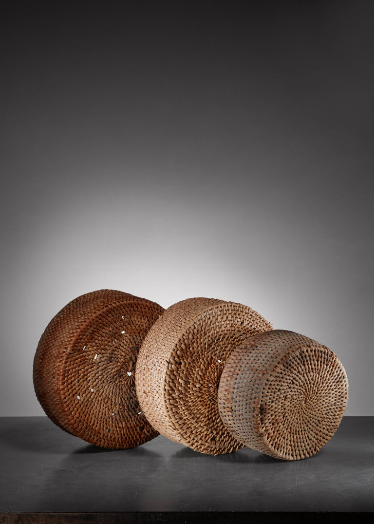 Swedish Set of Three Woven Folk Art Baskets, Sweden For Sale