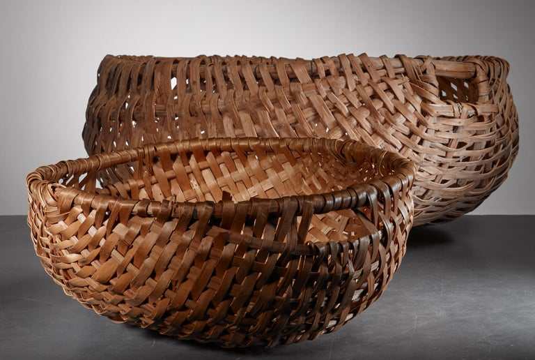 20th Century Pair of Swedish Woven Folk Art Baskets For Sale