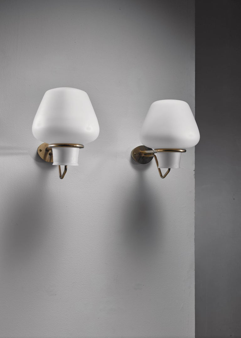 Swedish Gunnar Asplund Pair of Brass and Opaline Glass Sconces, Sweden, 1950s For Sale