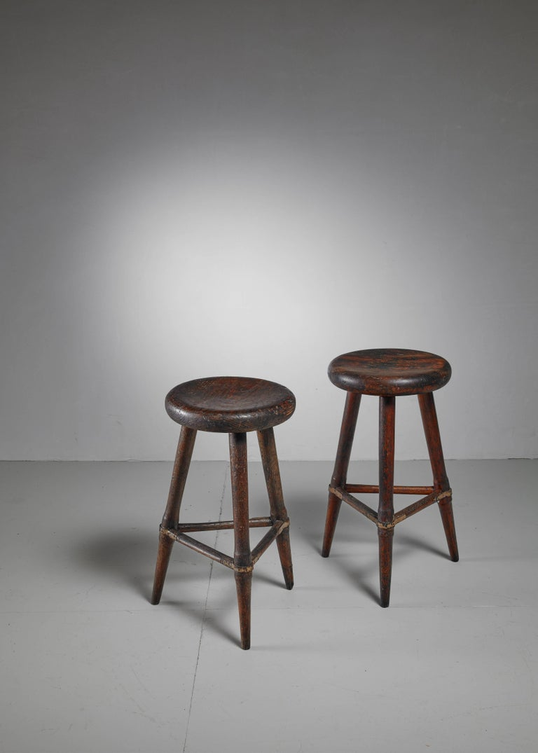 Pair of High Scandinavian Wooden Tripod Stools with Iron Connections, 1930s 3