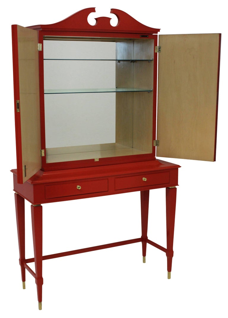 Italian Architectural Bar Cabinet in Scarlet Lacquer by Paolo Buffa For Sale