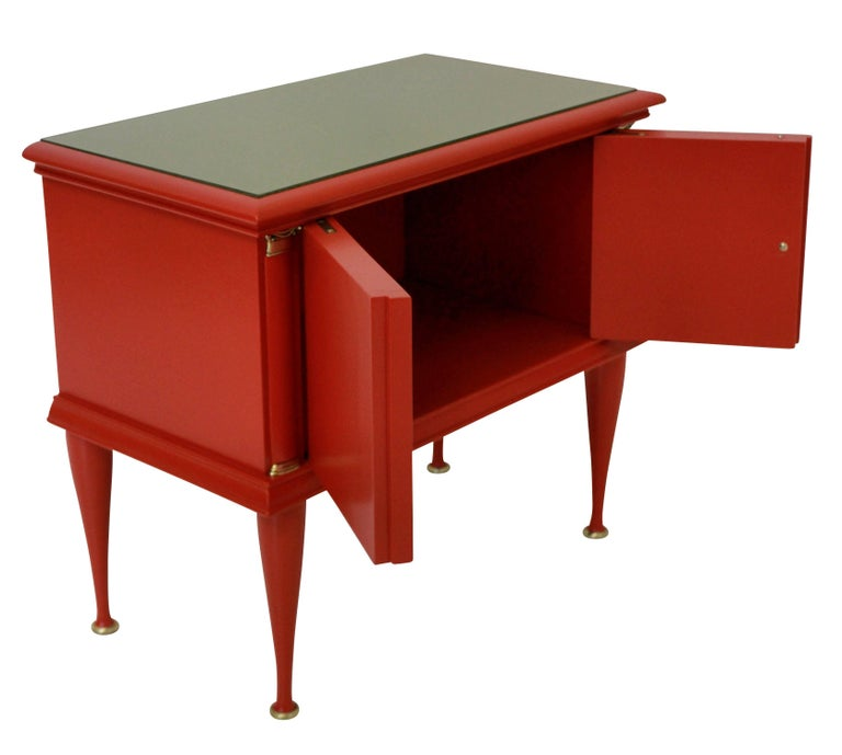 Pair of Italian Red Lacquered Nightstands 4