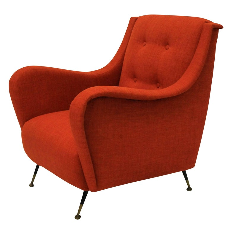 Pair Of Midcentury Armchairs In Burnt Orange For Sale At