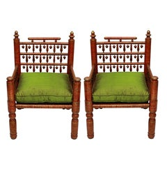 Pair of Red Lacquered Punjabi Chairs