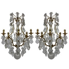 Pair of Large Wall Sconces by Baccarat of Paris