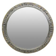Large Silver Leaf Circular Mirror