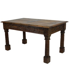French Gothic Revival Oak Center Table