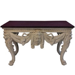 Large County House Console Table with a Solid Porphyry Top
