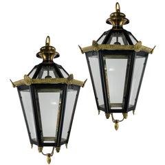Pair of English Tole Hanging Lanterns