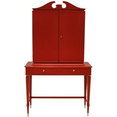 Architectural Bar Cabinet in Scarlet Lacquer by Paolo Buffa
