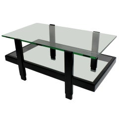 1960s Black Lacquered Two-Tier Occasional Table
