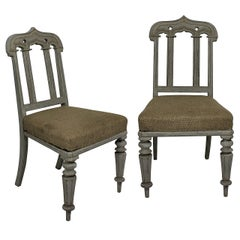 Pair of English Gothic Painted Chairs