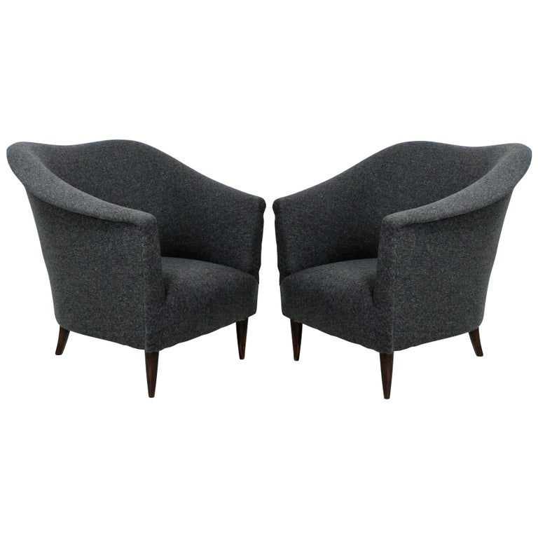 Pair of Sculptural Armchairs For Sale