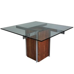 Marble and Chrome Modernist Dining Table