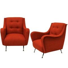 Pair of Midcentury Armchairs in Burnt Orange