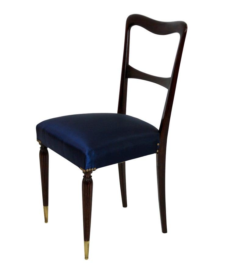 Mid-Century Modern Set of Six Fine Italian Dining Chairs