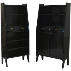 Pair of Large Ebonized Architectural Bookcases