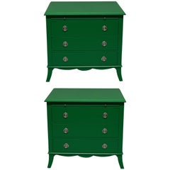 Pair of Green Lacquered Chests