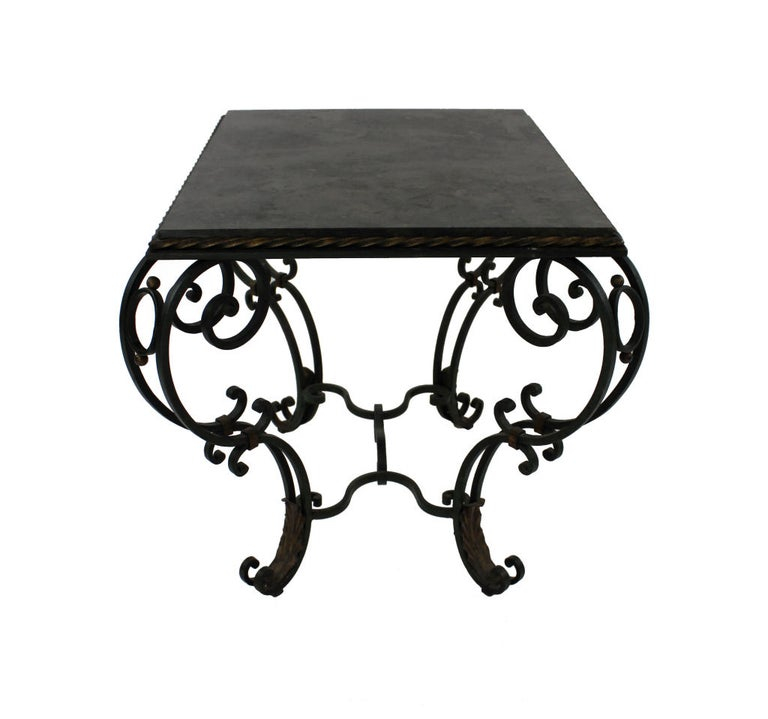 1940s French Painted and Gilded Wrought Iron Occasional Table In Good Condition In London, GB