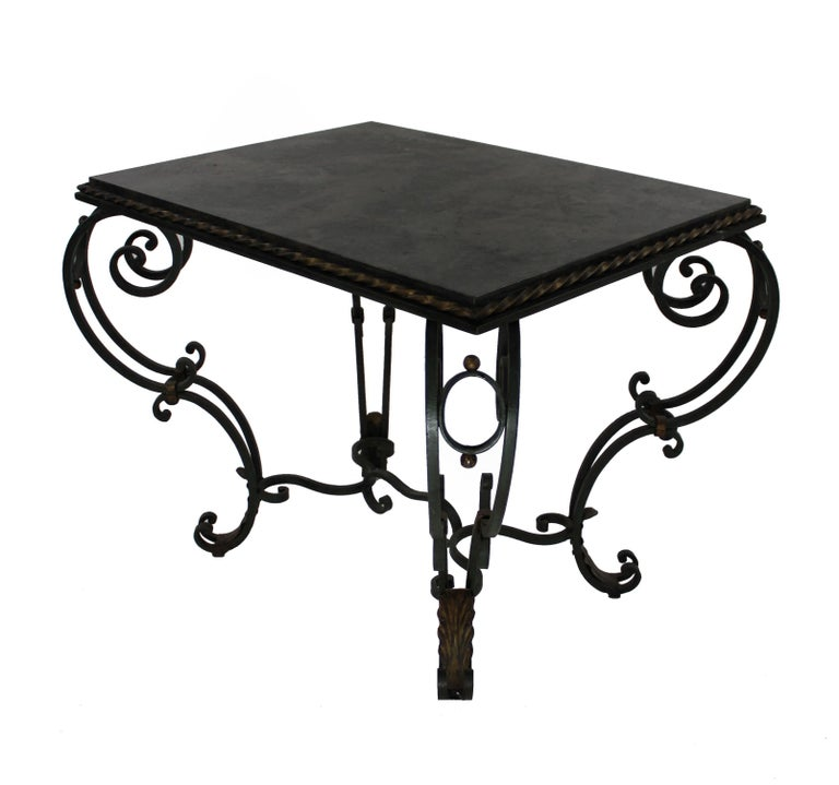Mid-20th Century 1940s French Painted and Gilded Wrought Iron Occasional Table