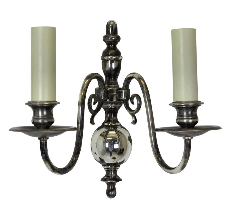Four Flemish Silver Wall Sconces For Sale at 1stdibs