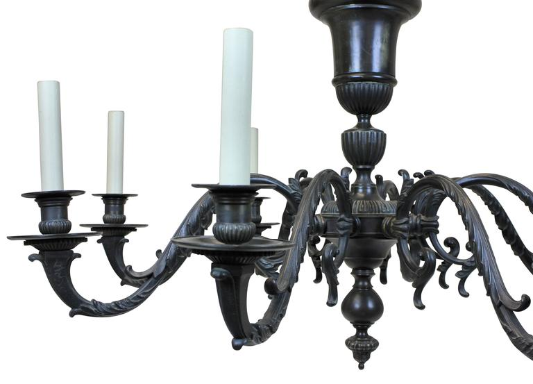 English Large Bronze 17th Century Style Chandelier For Sale