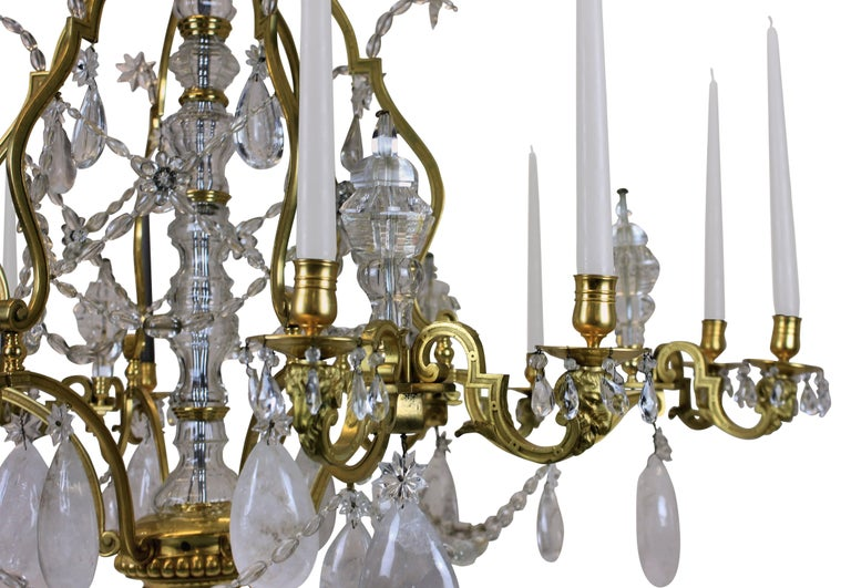 French Large Louis XIV Gilt Bronze and Rock Crystal Chandelier For Sale