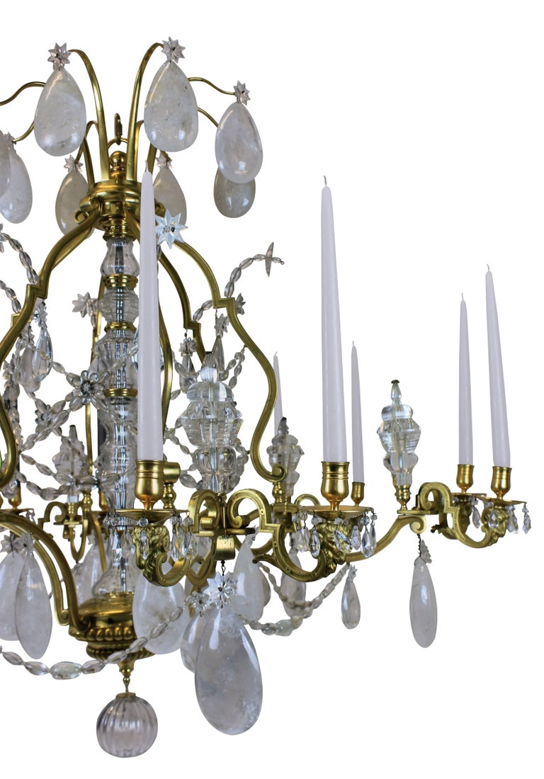 Large Louis XIV Gilt Bronze and Rock Crystal Chandelier In Good Condition For Sale In London, GB