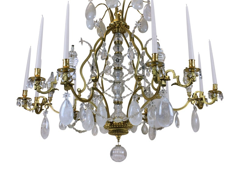 Mid-19th Century Large Louis XIV Gilt Bronze and Rock Crystal Chandelier For Sale
