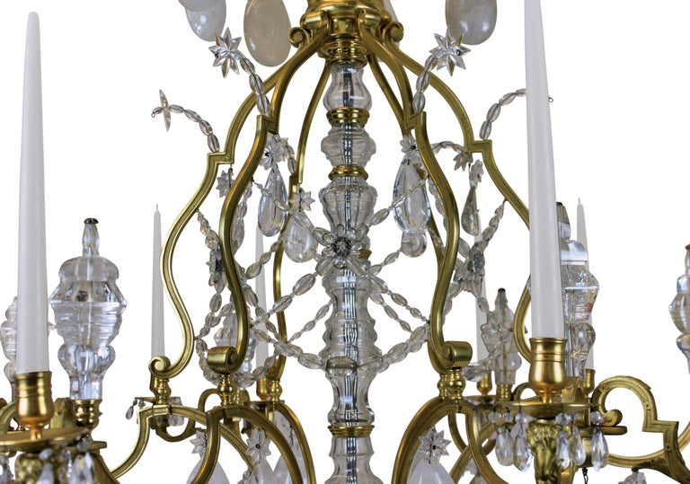 Large Louis XIV Gilt Bronze and Rock Crystal Chandelier For Sale 1