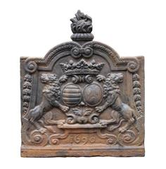 Cast Iron Fireback with Two Lions from Either Side of a Crowned Coat of Arms