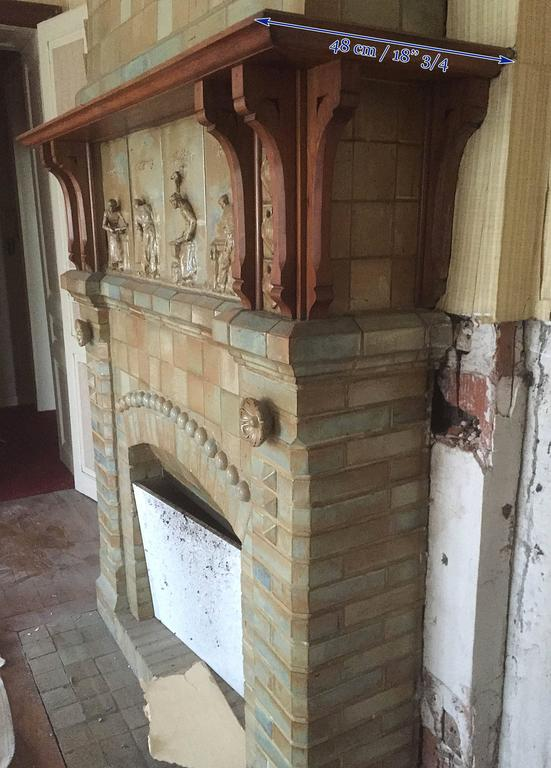 Antique Ceramic Fireplace with Hood by Charles Gréber, circa 1910 9