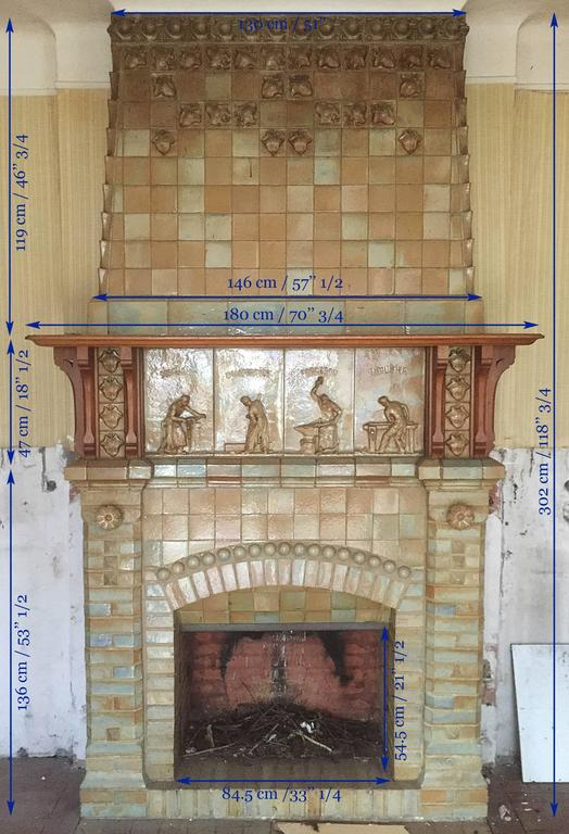 Antique Ceramic Fireplace with Hood by Charles Gréber, circa 1910 10